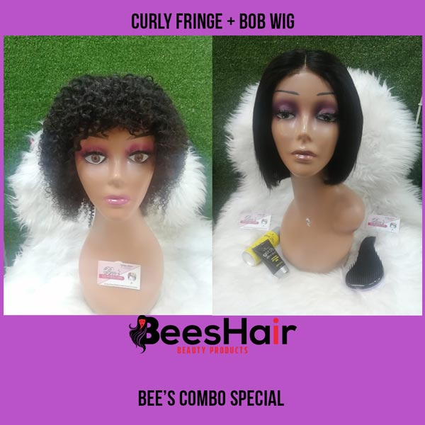 Curly Fringe Wig and Brazilian Bob Wig Combo Special