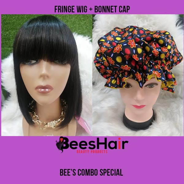 Fringe Wig and Bonnet Cap Combo Special
