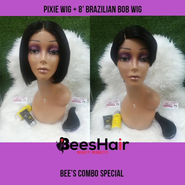 Pixie Wig and Brazilian Bob Wig Combo Special